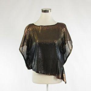 Light brown black VINCE CAMUTO sequin blouse XS